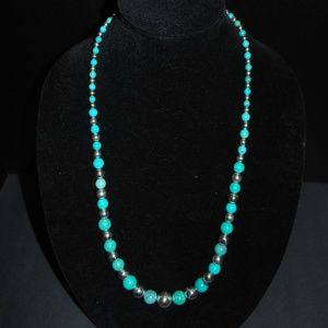SX Turquoise & Sterling Silver Bead necklace